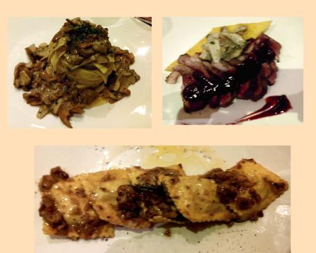 Tagliatelle con ragú, Magret de pato con reducción de frambuesas y boletus y, Raviolis rellenos de castañas, requesón y miel