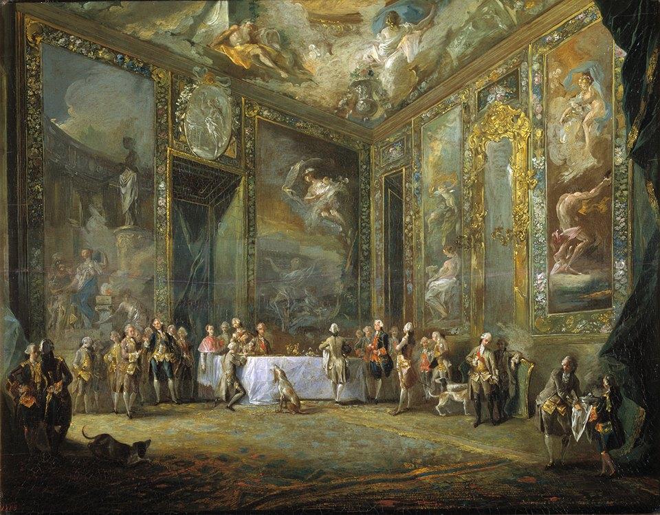 Carlos III comiendo ante su corte. Luis Paret