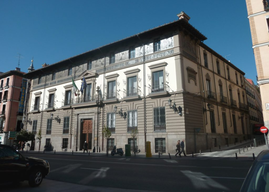 Palacio de Abrantes (1655) at 86 Calle Mayor (street) in Madrid (Spain).